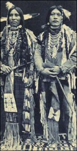 Two Bannock braves in native dress.