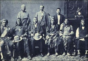Delegation of Shoshone Indians, tentatively identified as, left to right, Tyhee, J.A. Wright, Charley Ramsey; seated, Jack Tendoy, Captain Jim, Grouse Jack, Gibson Jack, Tsidemipe.